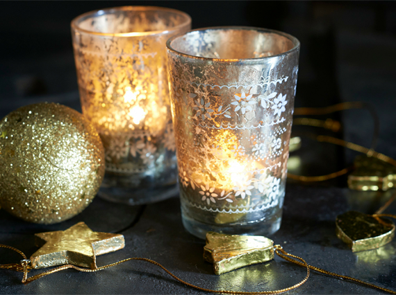 Festive candles and ornaments